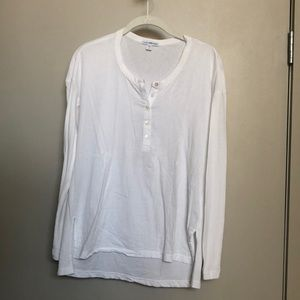 James Perse cotton long sleeved henley tee